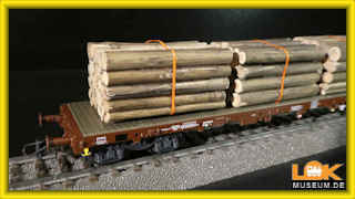 Roco 76574 Güterwagen Rungenwagen Rs mit Holzbeladung SBB H0